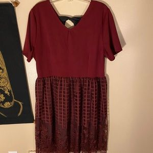 Dresses & Skirts - Burgundy lace dress size XL